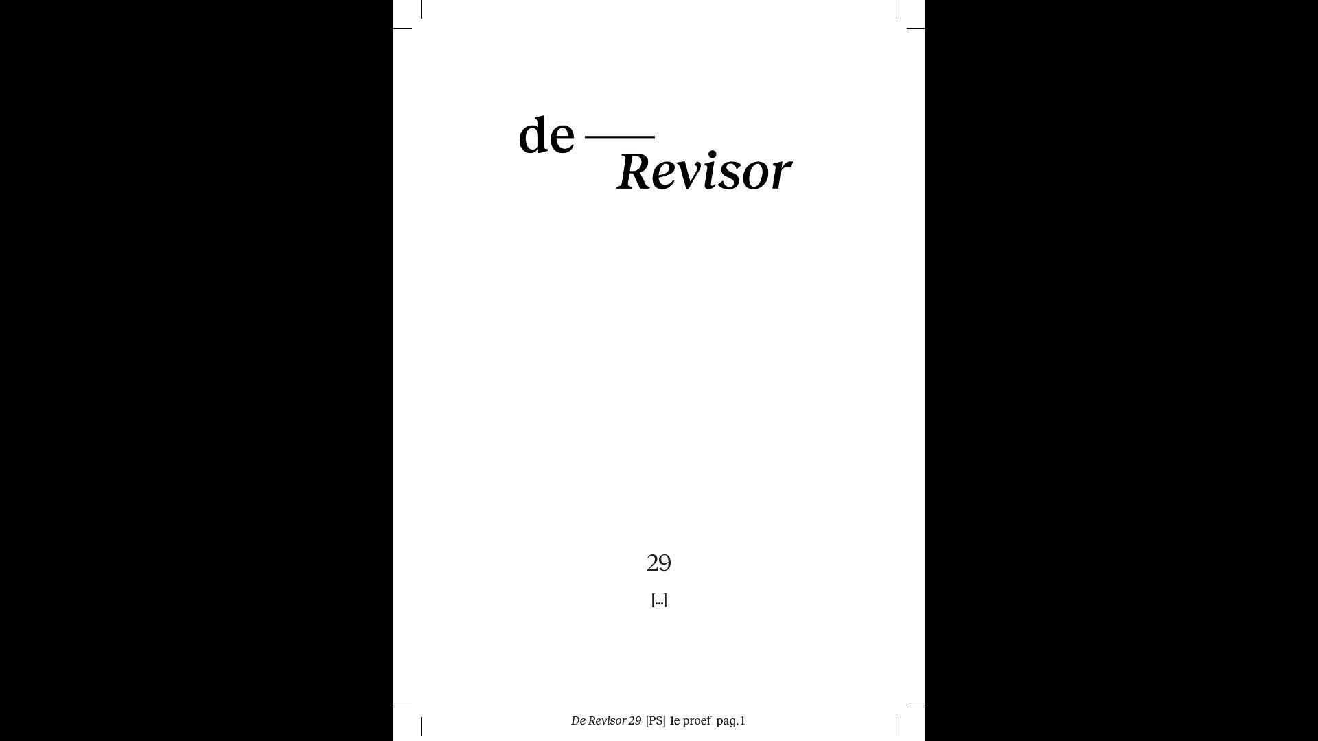 Eerste proef De Revisor 29, [...]